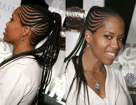 African American Hair Braided Into A Ponytail