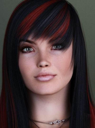 Long Black Hairstyles With Red Highlights Pictures
