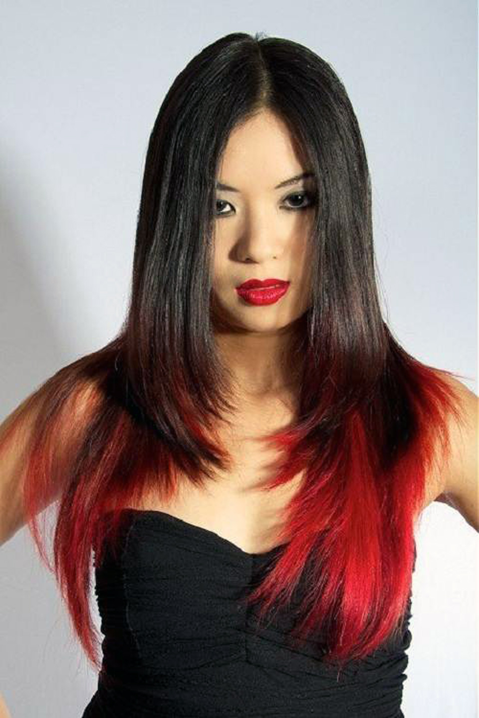 Long Black Hairstyles With Red Highlights for long face