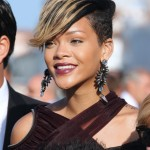 Rihanna Short Haircut Blonde Highlights Pictures