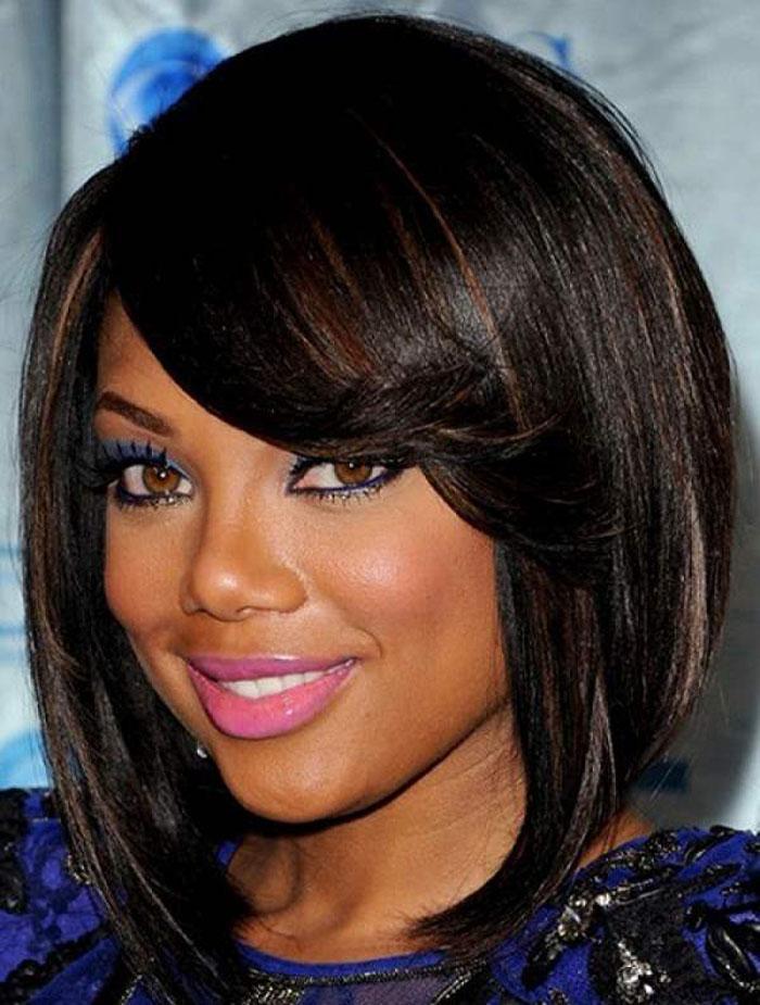 African American side swept bangs haircut
