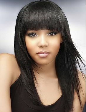 African American straight bangs with layered styling