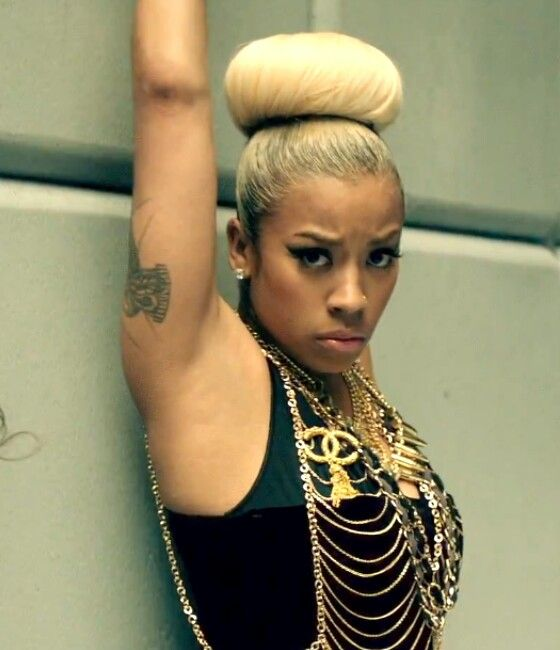Keyshia Cole New Bun Hairstyle with hair extension for short hair