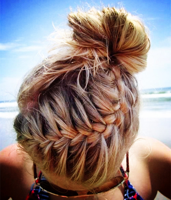 Plaited long hairstyles for school