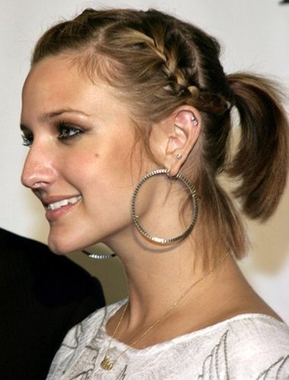 Plaited short hair with Ponytail hairstyle