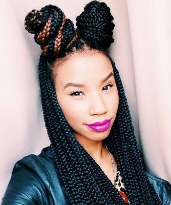 box braid High ponytail hairstyles Step by Step