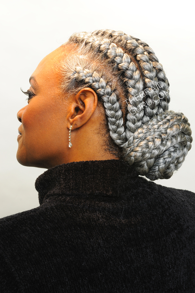 French Braids with Weave Bun
