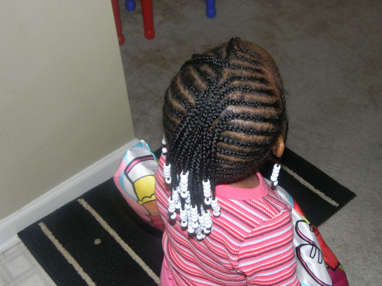 little girl braided mohawk with beads