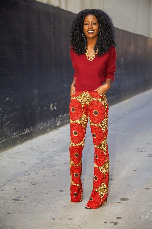 Ankara printed trouser and printed blouse styles