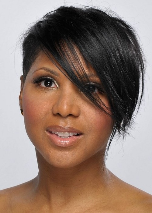 Black Short Hairstyles With Side Swept Bangs