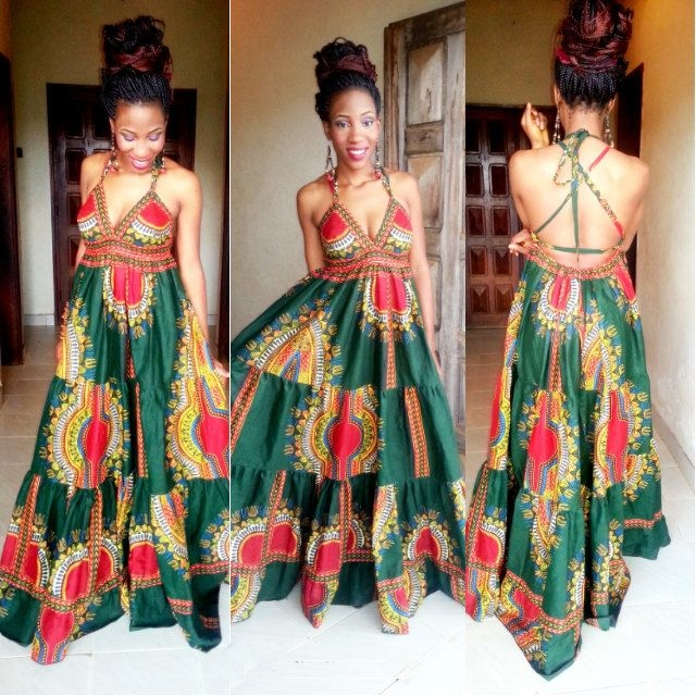 African American backless Dashiki Maxi Dress Designs 2017