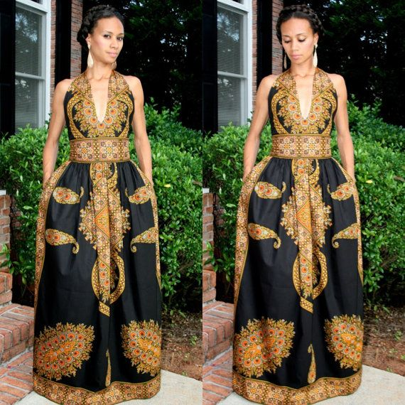 Latest African American Dashiki Maxi Dress Designs